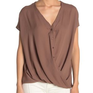Lush short sleeve gathered blouse size L GUC
